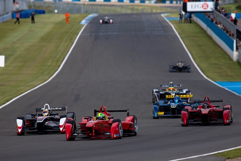 1. The Formula E cars in action during todays first official test