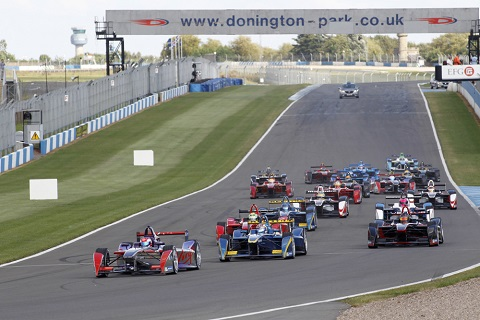 Action from the second Formula E event simulation at Donington Park 2