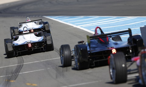 2. The Formula E cars during their fourth test day at Donington Park