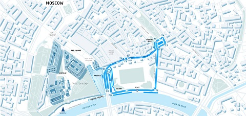 The proposed circuit layout for the 2015 Formula E Moscow ePrix