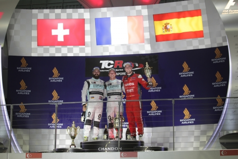 Singapore Race 1 podium