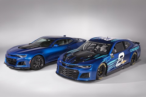 Chevrolet Camaro ZL1 Race Car and Prodcution Car Side by Side Blue