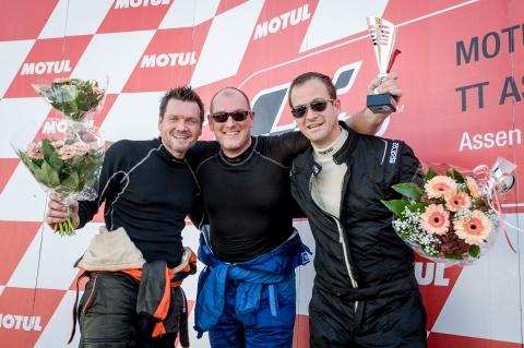 Zilhouette Cup midden kampioen Blaak links tweede man Hermans rechts derde man Wieringa Foto Serge Duursma