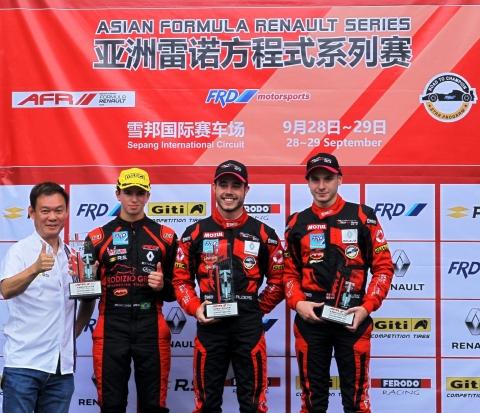 Joey Alders wint 3 races  Asia Formule Renault 2