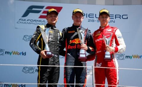 Max Fewtrell-Juri Vips-Marcus-Armstrong-podium-R1-Austria-2019-770x470